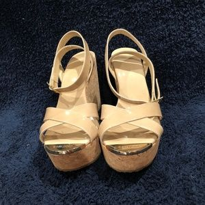 JIMMY CHOO Nude Patent Leather Wedges 37.5